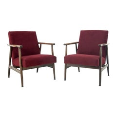 Midcentury Deep Red Retro Armchairs from 1960s