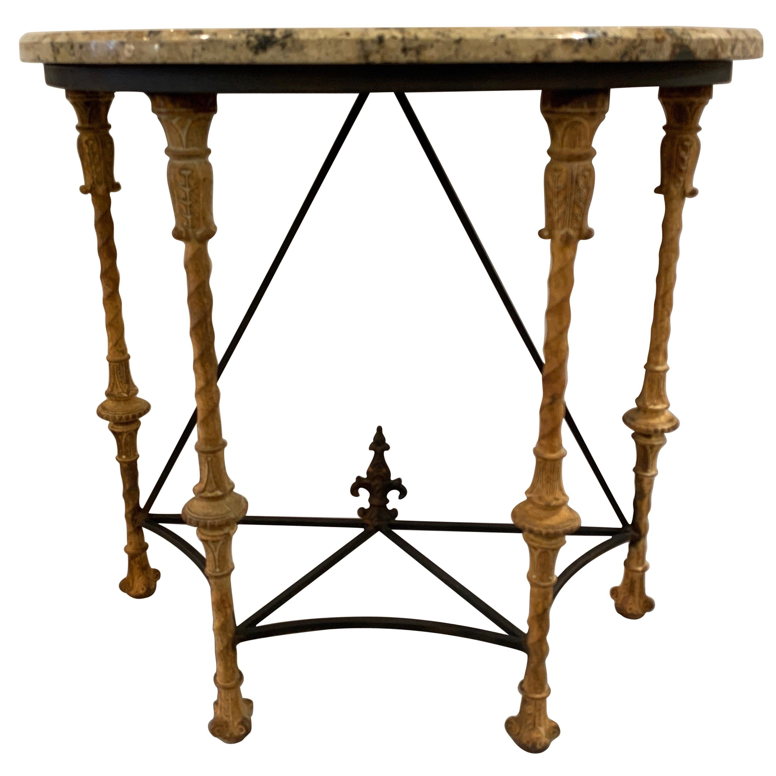 Midcentury Demilune Table with Ornate Wrought Iron Base & Italian Marble Top