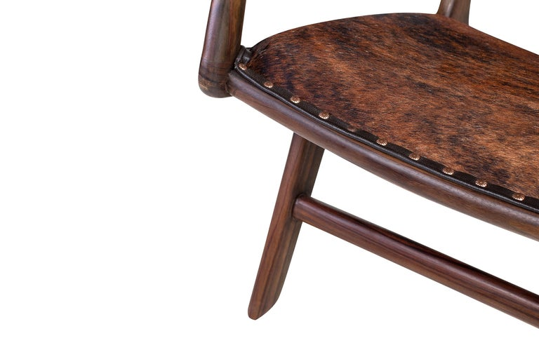 Scandinavian Modern Midcentury Design and Danish Look Teak Wooden and Leather Lounge Armchair For Sale