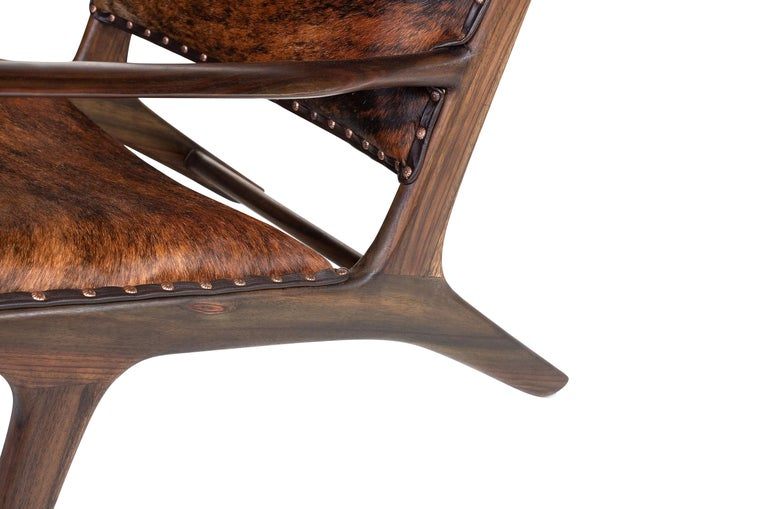 European Midcentury Design and Danish Look Teak Wooden and Leather Lounge Armchair For Sale