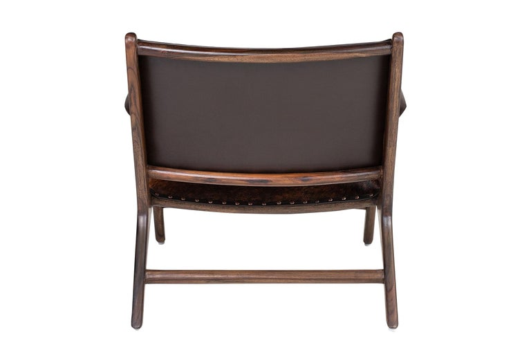 Midcentury Design and Danish Look Teak Wooden and Leather Lounge Armchair In New Condition For Sale In Halluin, FR