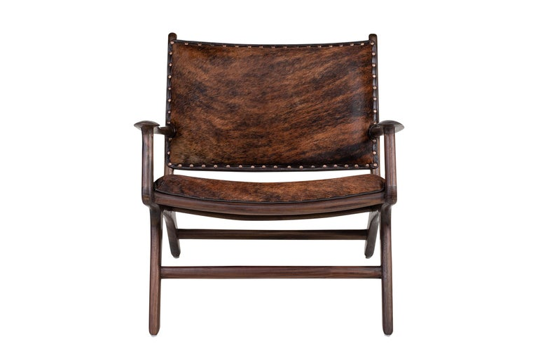 Midcentury Design and Danish Look Teak Wooden and Leather Lounge Armchair For Sale 1