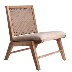 Midcentury Design and Danish Look Wooden and Rope Lounge Armchair