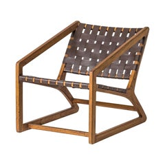 Midcentury Design and Danish Style Wooden and Leather Lounger Armchair