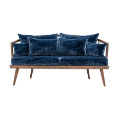 Midcentury Design and Scandinavian Style Walnut Wooden and Velvet Sofa
