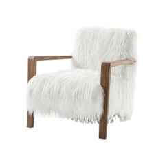 Midcentury Design and Scandinavian Style Wooden and Faux Fur Armchair