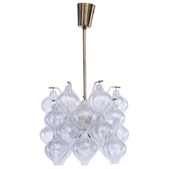 Midcentury Design Brass and Glass Light Tulipan by Kalmar from Vienna