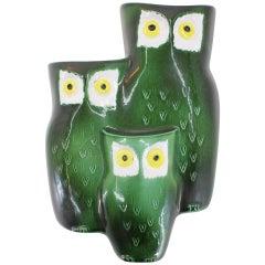 Midcentury Design Ceramic Wall Decoration, Owl Family