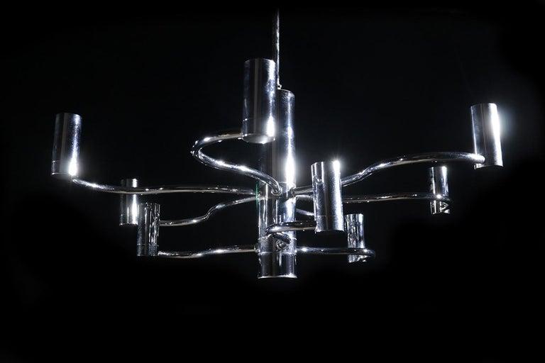 Midcentury Design Gaetano Sciolari Ceiling Lamp Chandelier Chrome For Sale 3