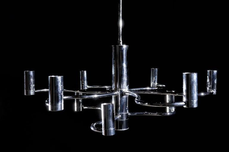 Midcentury Design Gaetano Sciolari Ceiling Lamp Chandelier Chrome For Sale 4