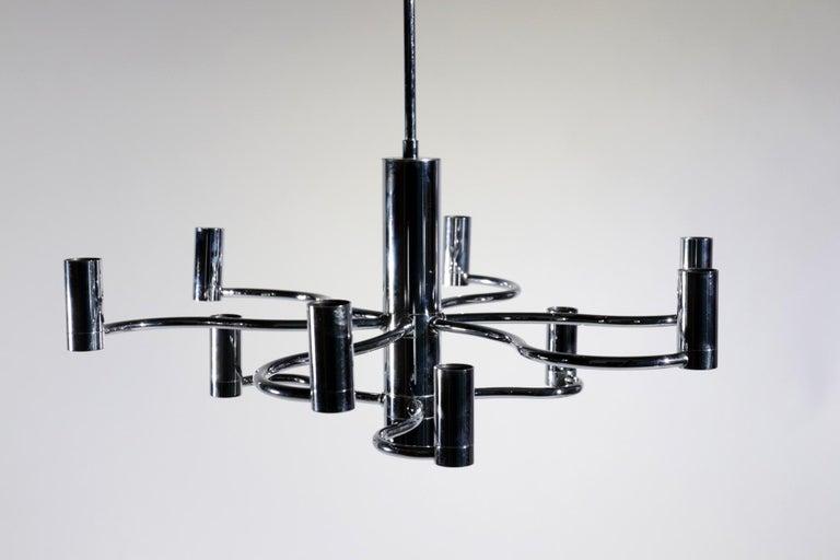 Midcentury Design Gaetano Sciolari Ceiling Lamp Chandelier Chrome For Sale 8