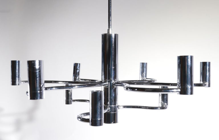 Midcentury Design Gaetano Sciolari Ceiling Lamp Chandelier Chrome For Sale 11
