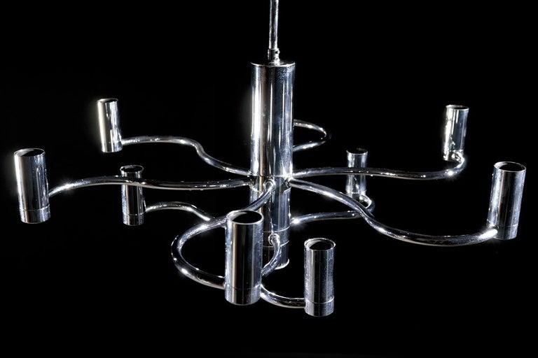 Midcentury Design Gaetano Sciolari Ceiling Lamp Chandelier Chrome For Sale 1