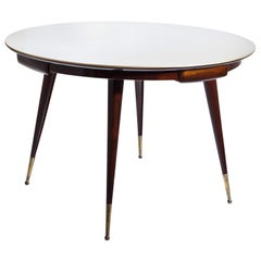 Midcentury Design Game Table with Glass Top, Italy, 1950s