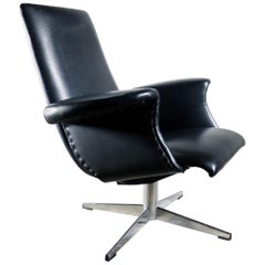 Midcentury Design Goldsiegel Armchair Black Faux Leather, 1960