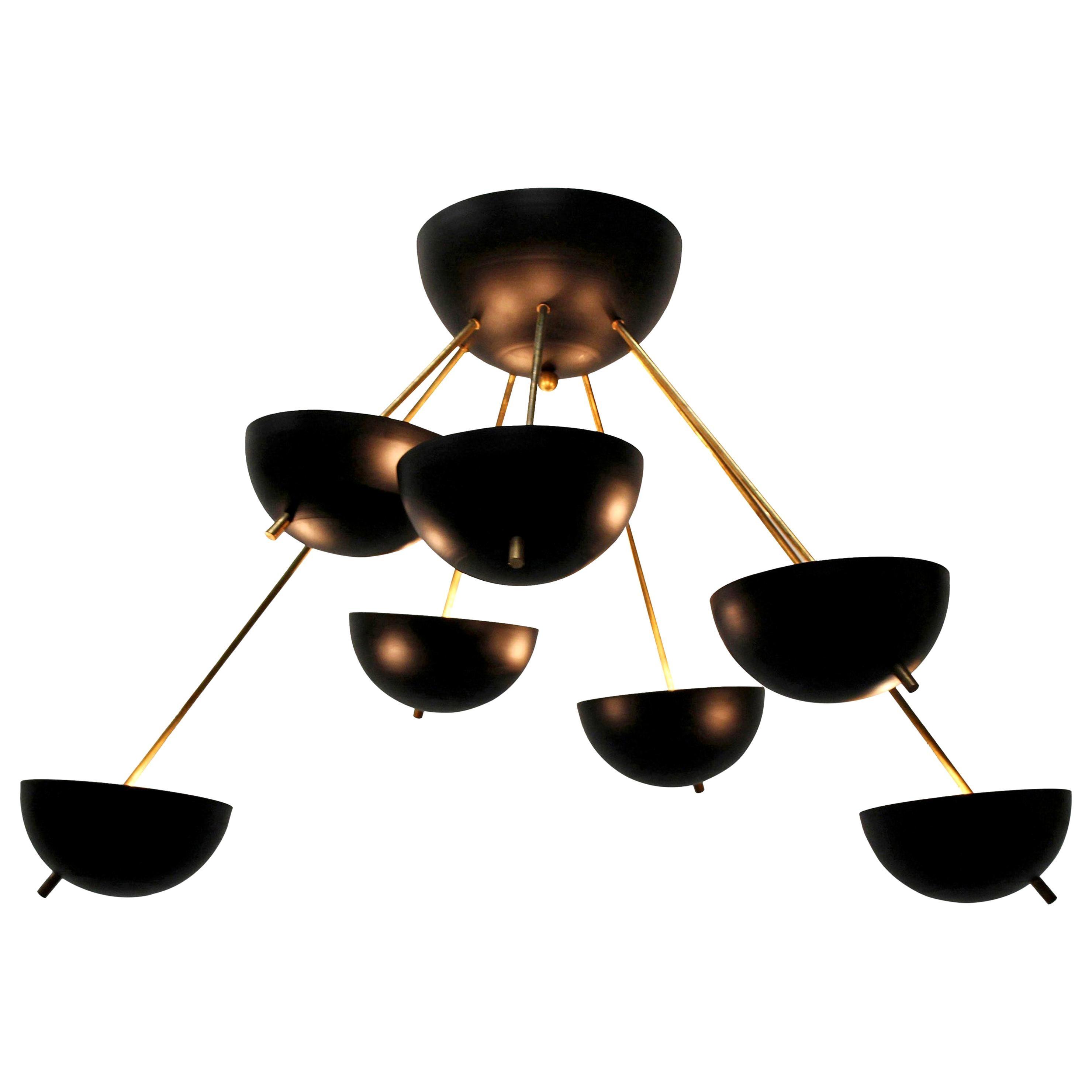 Midcentury Design Italian Sputnik Chandelier, Attributed to Stilnovo Black Gold
