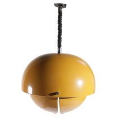 Midcentury Design Metal Lamp Golden Yellow Ceiling Lamp, 1970