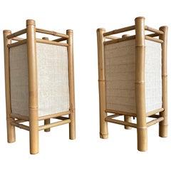 Midcentury Design Pair of Bamboo Table Lamps Pair of Organic Modern Lamps