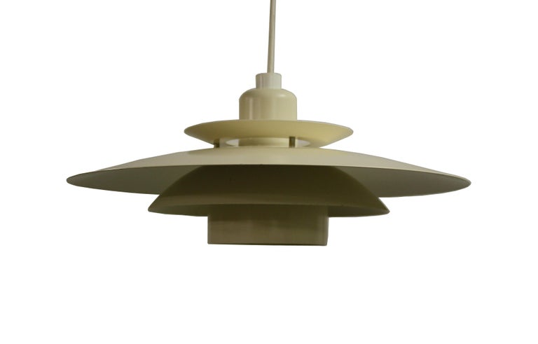 Beautiful midcentury Scandinavian design pendant light.  This typical but stunning lamp is very much inspired by Poul Henningsen lights.  E27/E26 light bulb holder, tested and ready for use.  1970s, Denmark  Dimensions: Height 25cm
