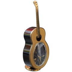 Midcentury Desk Clock in Shape of a Guitar 8 Days with Mechanism Alarm Melody