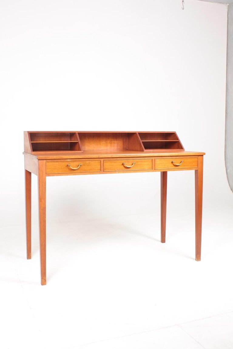Scandinavian Modern Midcentury Desk in Mahogany with Organizer Designed by Ole Wanscher, 1950s For Sale