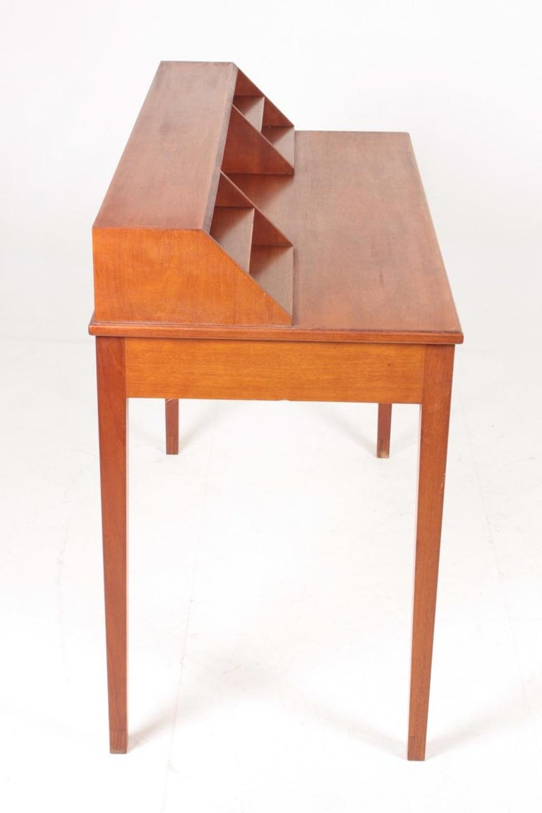 Midcentury Desk in Mahogany with Organizer Designed by Ole Wanscher, 1950s For Sale 1