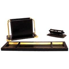 Midcentury Desk Set Letter Rack Rotating Calendar Pen Tray Black Leather c1960