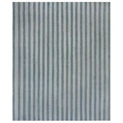 Midcentury Dhurrie Handmade Rug in Blue Stripes