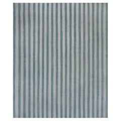 Midcentury Dhurrie Handmade Rug in Blue Stripes