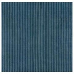 Midcentury Dhurrie Rug in Blue Stripes