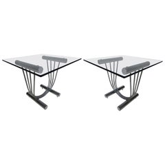 Midcentury DIA Style Chrome and Glass Side Tables