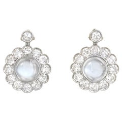 Midcentury Diamond and Moonstone Cluster Drop Earrings in White Gold