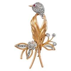 Midcentury Diamond Bird Brooch