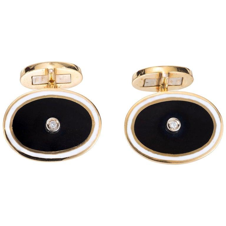 Midcentury Diamond Black White Enamel Gold Cufflinks For Sale