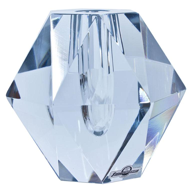 Midcentury Diamond Crystal Glass Vase by Strömbergshyttan, Sweden For Sale