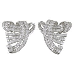 Diamond Platinum Mid-Century Double Clip Brooch Pair