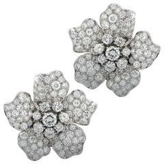 Midcentury Diamond Encrusted Platinum Flower Earrings