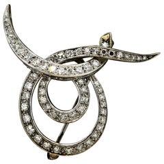 Midcentury Diamond Gold Swirl Brooch