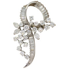 Midcentury Diamond Platinum Brooch
