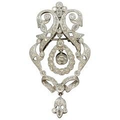 Midcentury Diamond Platinum Dangle Drop Pendant-Brooch