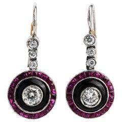 Midcentury Diamond Platinum Diamond Ruby Dangle Earrings