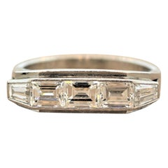 Midcentury Diamond Platinum Ring