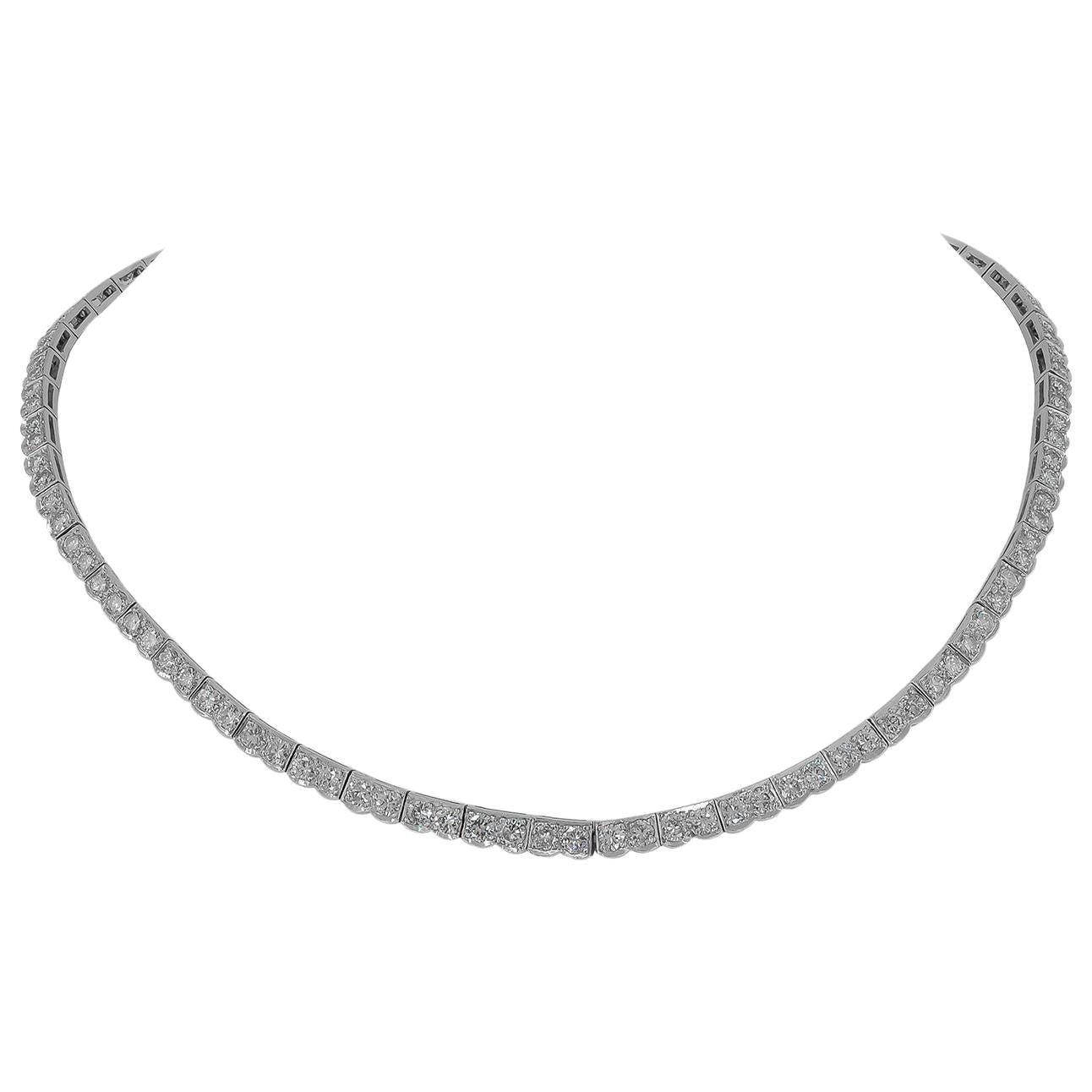Mid-Century Diamond Platinum Rivière Necklace