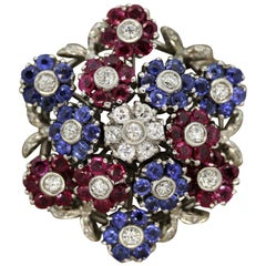 Midcentury Diamond Ruby Sapphire Gold Dancing Flowers Brooch