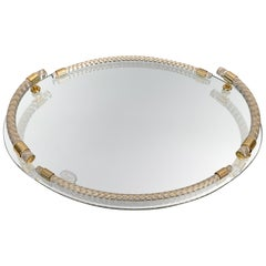 Midcentury Dimart 24-Karat Gold-Plated and Brass Italian Tray with Mirror, 1980s