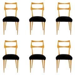 Midcentury Dining Chairs Augusto Romano, Italy