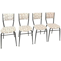 Mid Century Dining Chairs Fabric Black Lacquered Metal 1960s Set of 4