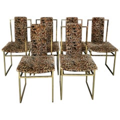 Midcentury Dining Chairs in Golden Metal and Velvet Italy, 1970s, Set of 6