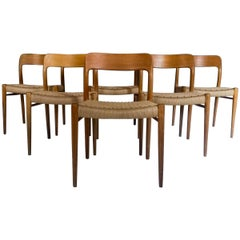 Midcentury Dining Chairs, Model 75 by Niels O. Møller Oak