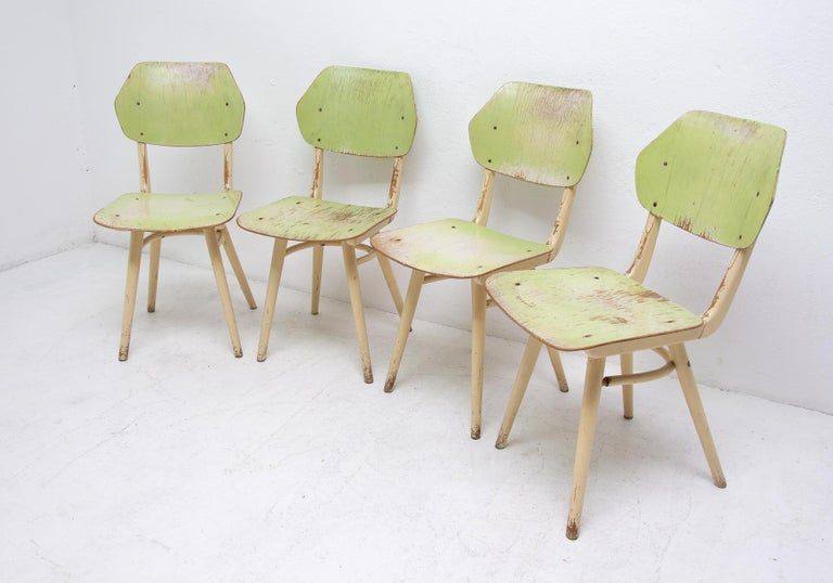 Czech Midcentury Dining Chairs TON, Set of Four, 1960s For Sale